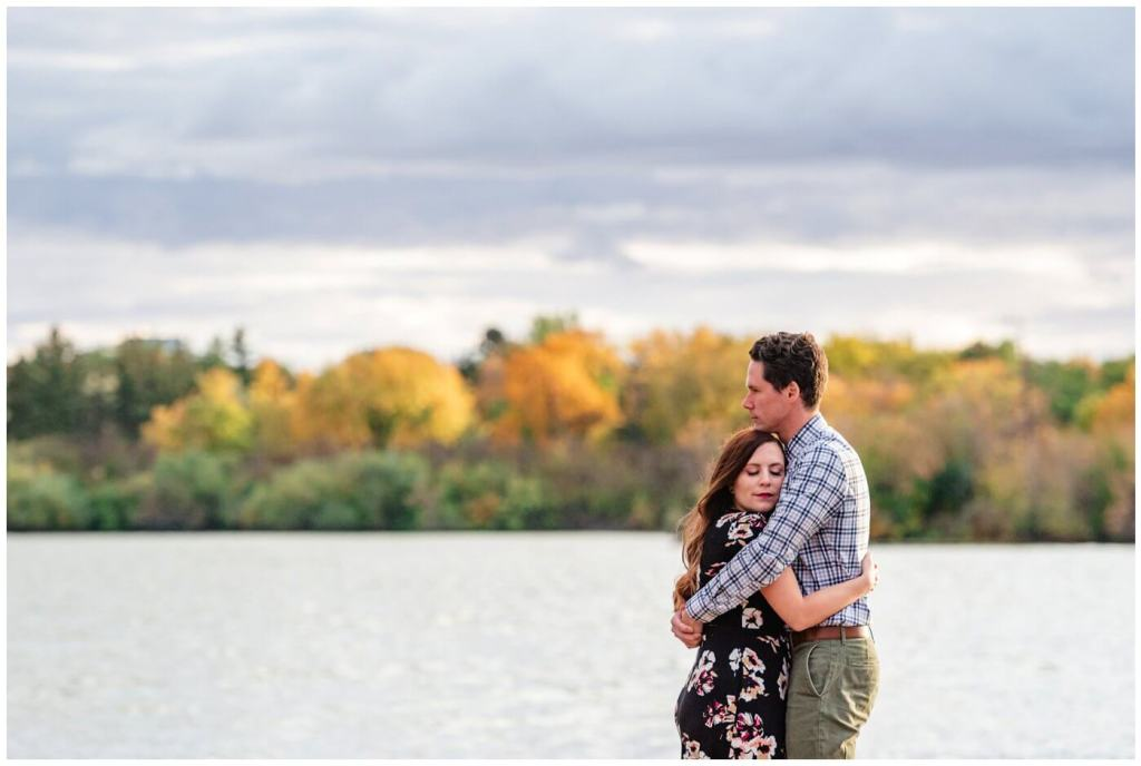 Regina Engagement Photography - 007 - Tim & Jennelle - Standing on the docks on Wascana lake