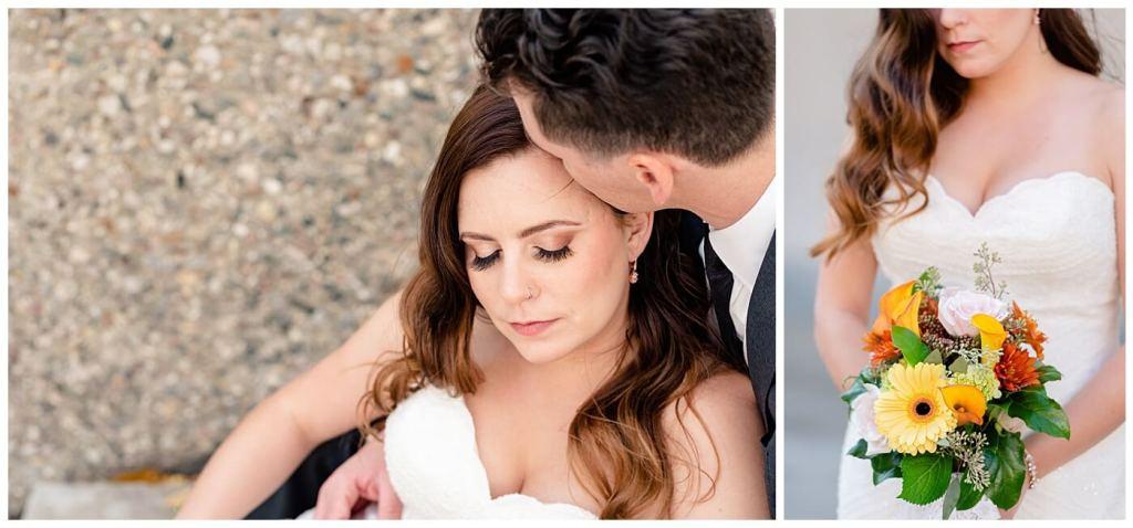 Regina Wedding Photographer - Tim & Jennelle At Home Wedding - Bride resting eyes and holding flowers