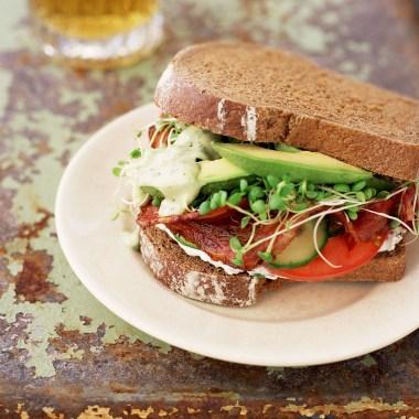 Bacon, Lettuce, Avocado, and Tomato sandwich