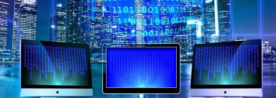 computers showing binary code