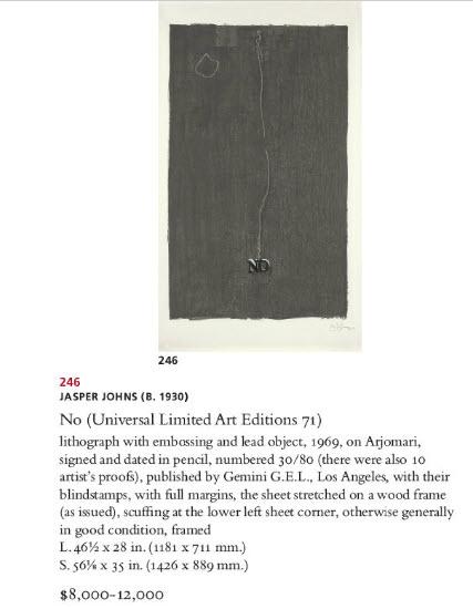 Jasper Johns Auction, Christies Auction, Prints Auction