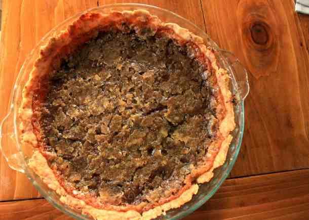 vegan chocolate chip pie, whole pie
