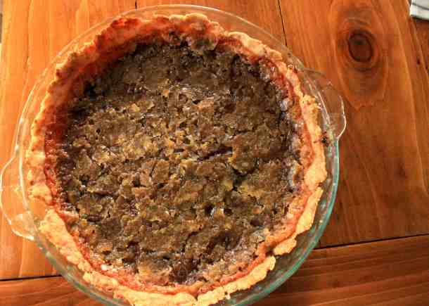 vegan chocolate chip pie, whole pie