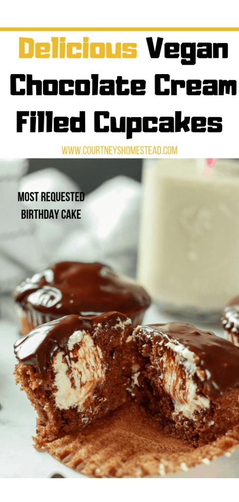 Delicious Vegan Chocolate Cream Filled Cupcakes