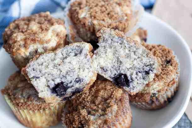Half cut blueberry muffin