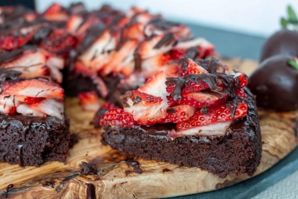 slice of vegan chocolate covered strawberry cake