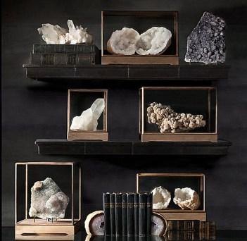 Mineral-specimens-decoration-on-black-shelf-and-table-design-ideas