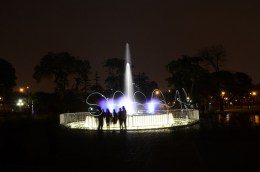 Light painting at the Magic Water Circuit in Lima, Peru.