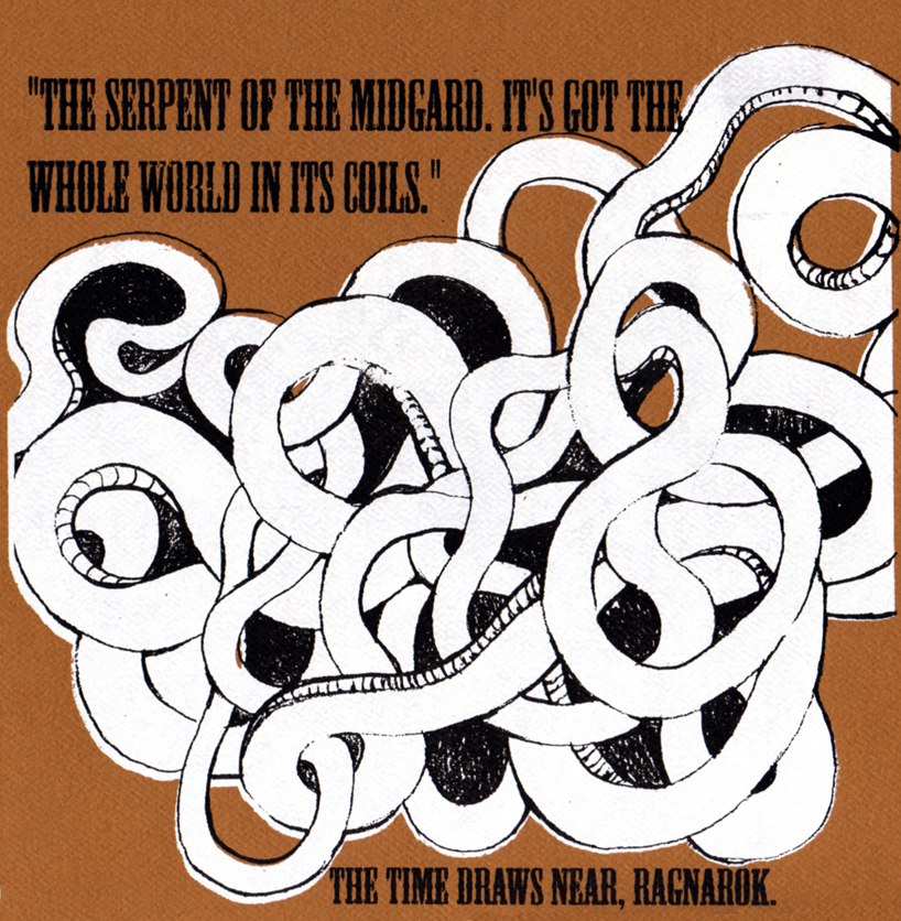 In one of my favorite parts of the story, a visitor interjects with a question wondering how could the Midgard serpent fit into a cage if his body encircled the world.  Ruhk, the guide through the midnight carnivale, quickly ad libs that a loop of the serpert popped through a different dimension or something, and conveniently into the cage it is displayed in.  Nice save!  DEFINITELY ironclad.  Lucky for him, he was talking to a bunch of peasants.