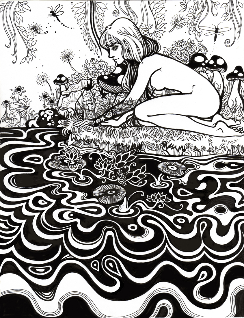 A pretty nymph gazes into the water.  This was hand inked but cleaned up a bit in Photoshop.