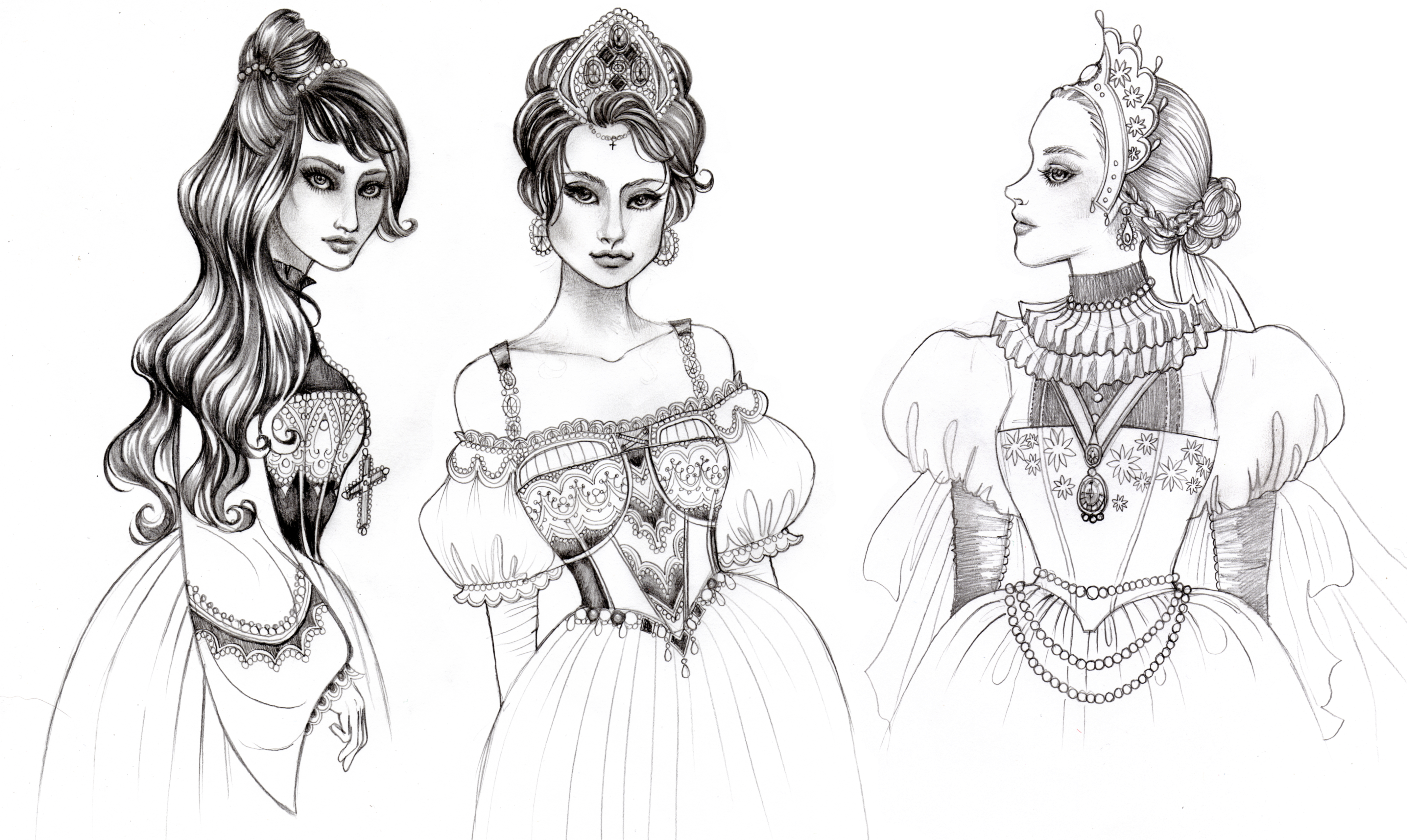One of my favorite historical figures, the infamous Henry VIII...perhaps I had been watching The Tudors at this time.  Here I've depicted a fantasy illustration of Katherine of Aragon, Anne Boleyn, and Jane Seymour, the first three wives of Henry.