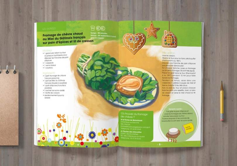 illustration salade de chèvre chaud et cresson parc gâtinais français