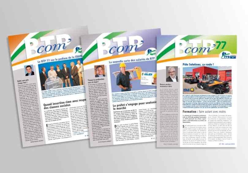 couverture de journaux du BTP'com journal interne du BTP 77