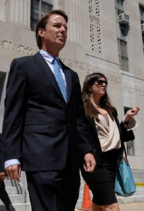 John Edwards leaving the courtroom