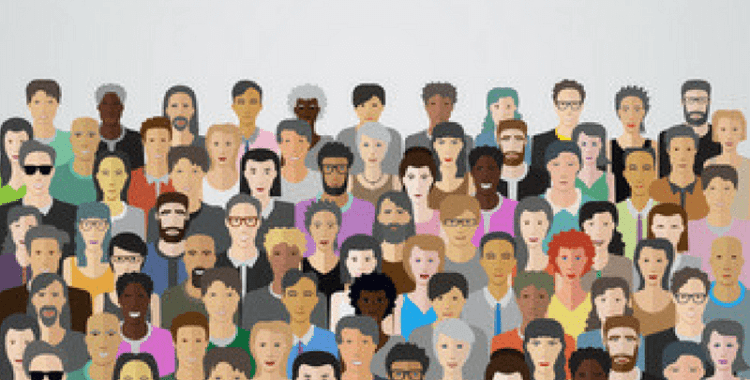 Illustration of a crowd of people's faces