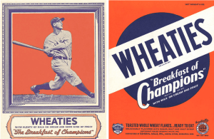 Vintage baseball cards and Wheaties box