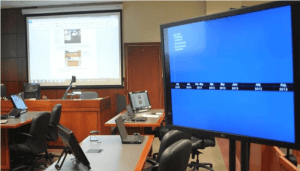 Photo of Technology Setup in a Courtroom