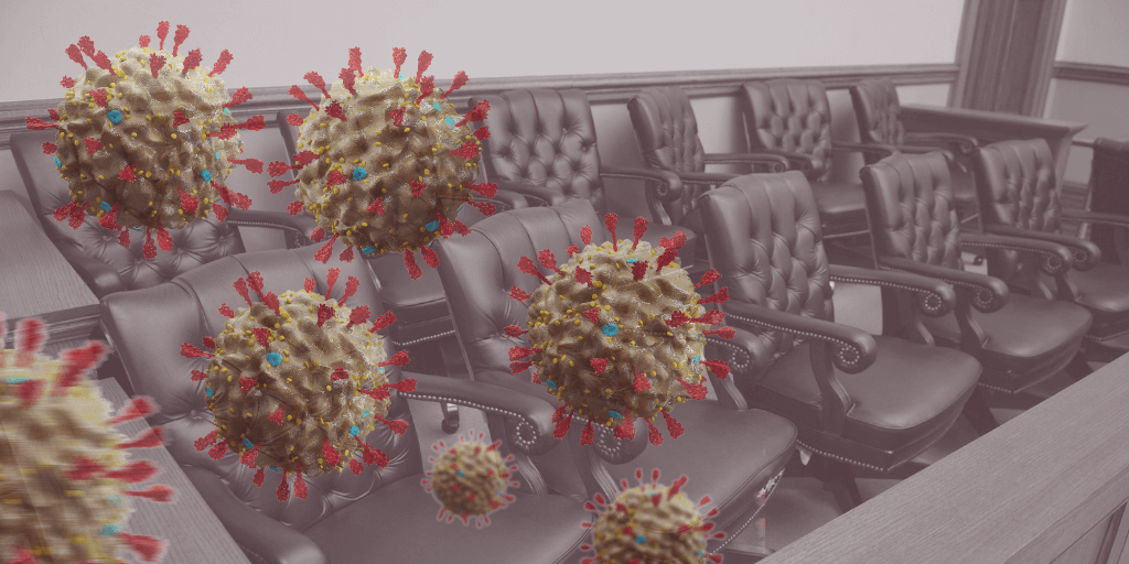 Image of jury box with coronavirus molecules