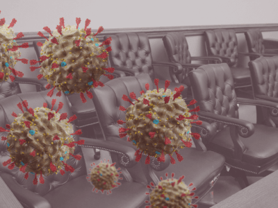 Image of jury box with coronavirus molecules