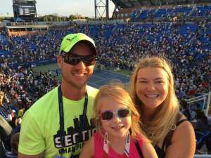 Oliver wearing his Nadal hat with family at the US Open