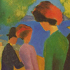 Thumbnail and detail of painting by August Macke in blocks of bold color showing a lone woman in foreground with two couples in background. Also shown are some trees and an area of blue, perhaps a pond.
