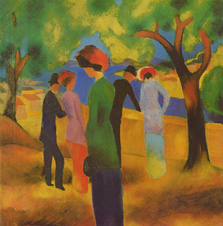 Painting by August Macke in blocks of bold color showing a lone woman in foreground with two couples in background. Also shown are some trees and an area of blue, perhaps a pond.