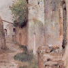 Thumbnail and detail of painting by Giovanni Fattori showing a narrow alleyway between slightly distressed brick or white stucco buildings.
