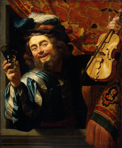 Painting by Gerrit van Honthorst showing a man with a broad smile, possibly drunk, with wine glass in one hand and a violin in the other.