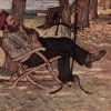 Thumbnail and detail of a painting by Giovanni Fattori of a man leaning back leisurely in a chair as he reads a book mounted on a reading stand..