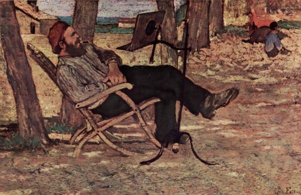 Painting by Giovanni Fattori of a man leaning back leisurely in a chair as he reads a book mounted on a reading stand..