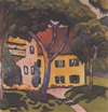 Thumbnail and detail of painting by artist Macke of a yellow house with red roof and a lawn and trees in front of it.