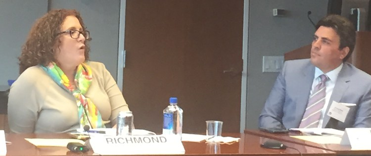 """Carolyn Richmond, Esq. (L) with Richard Klass, Esq. at June 2015 CLE """"The Do's and Don'ts of Finding and Hiring an Associate"""" at the New York State Bar Association."""