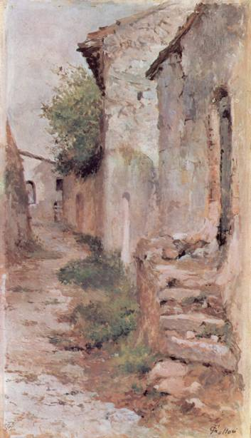 Painting by Giovanni Fattori showing a narrow alleyway between slightly distressed brick or white stucco buildings.