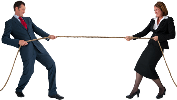 man and woman in a tug-of-war, illustrating article by Richard Klass about a law firm 's charging lien
