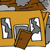 Cartoon of house exploding that illustrates article by Richard Klass, Esq. about a failed real estate development joint venture in New York.