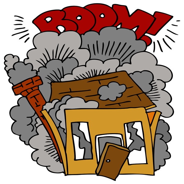 Cartoon of house exploding that illustrates article by Richard Klass, Esq. about a failed real estate development joint venture agreement in New York.