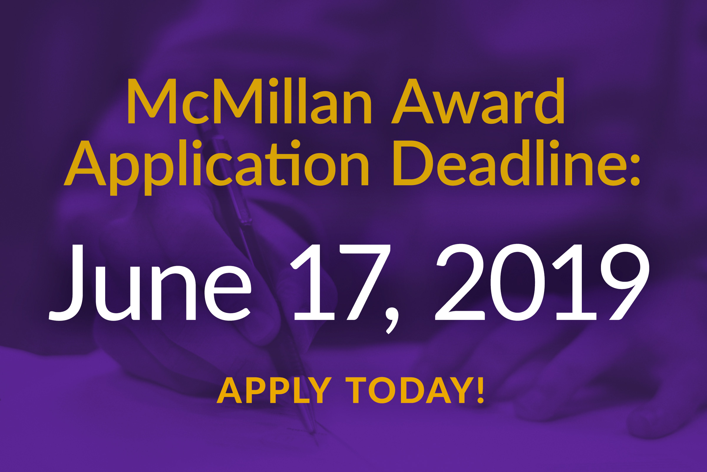 CTC 2019 McMillan Award Application Deadline Quickly Approaching
