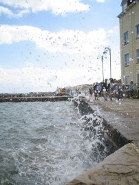 Wave hitting the Swanage quayside