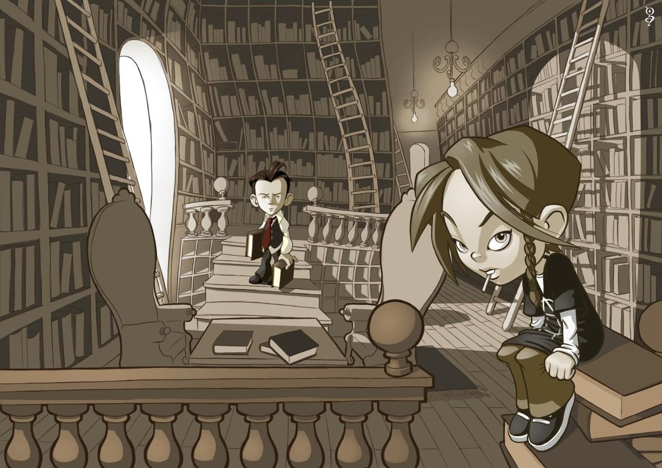 deux enfants dans une bibliothèque mystérieuse