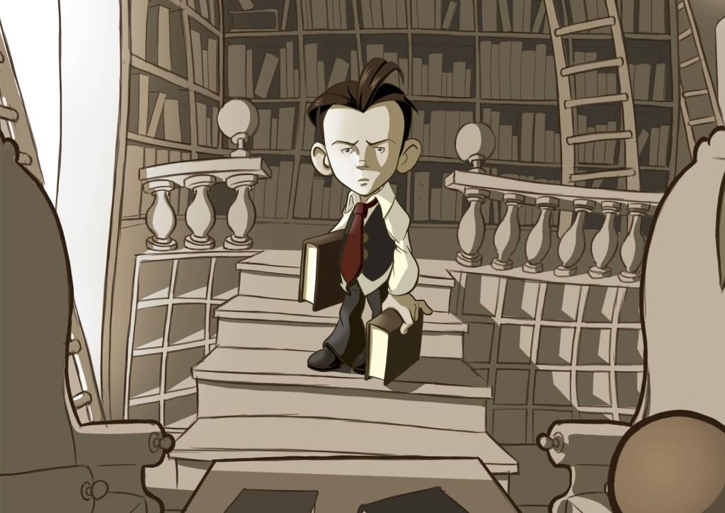 un garçon dans une bibliothèque mystérieuse