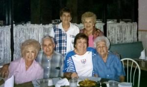 Front row: Micki Kerstman Epstein Grossbardt, Stanley Kerstman, Goldie Lafazan Kerstman, Marcia Kerstman Landes (via Joel Landes)