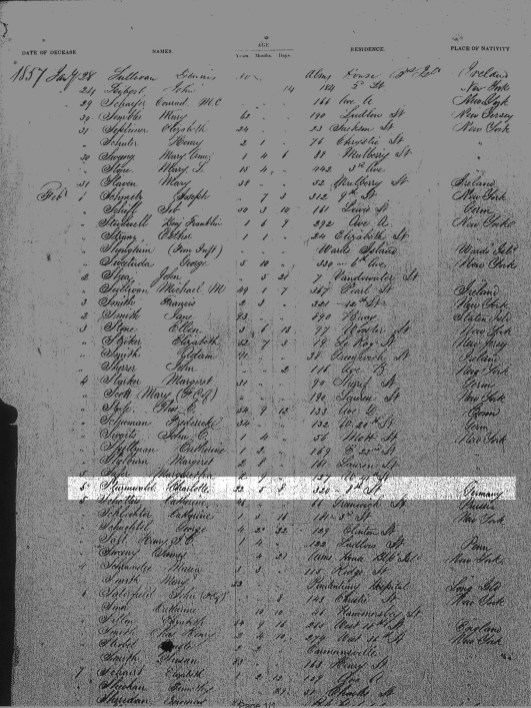 Charlotte Sturmwald Death Index page 1
