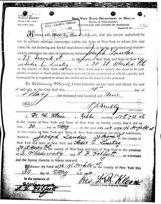 Joseph Landes and Sadie Lustig Marriage Affidavit and License