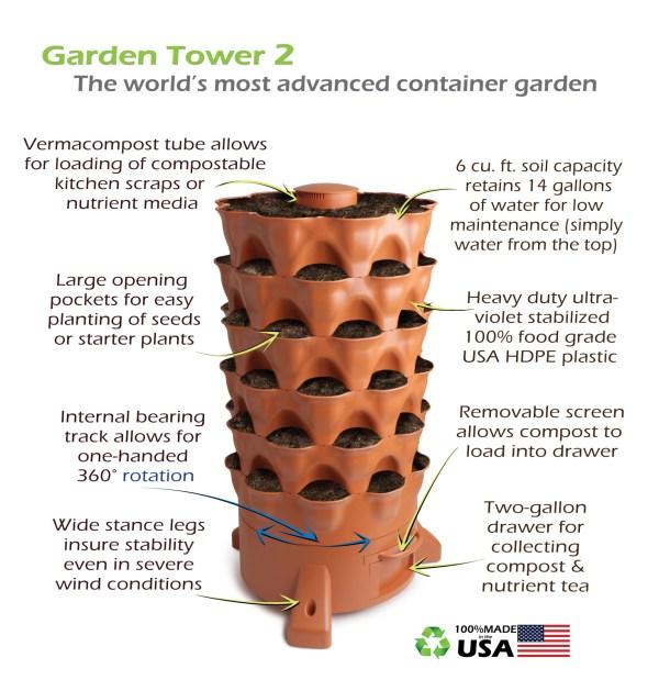 garden tower features