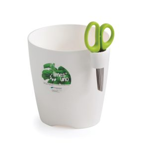 herb planter with scissors white