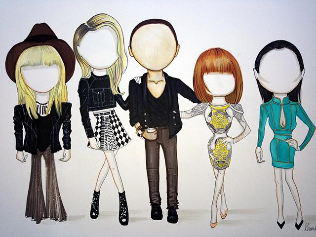 Balmain gang: Nicole Richie, Rosie Huntington-Whiteley, Oliver Rousteing, Liberty Ross & Rachel Zoe
