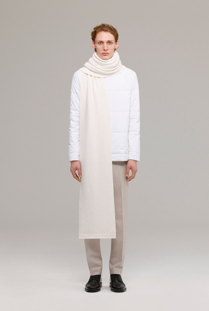 Cotton poplin padded top with cotton knit long scarf