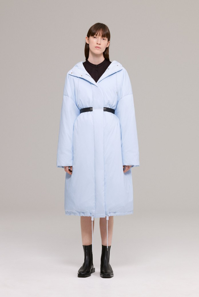 Ice blue quilted down coat with drawstring hem