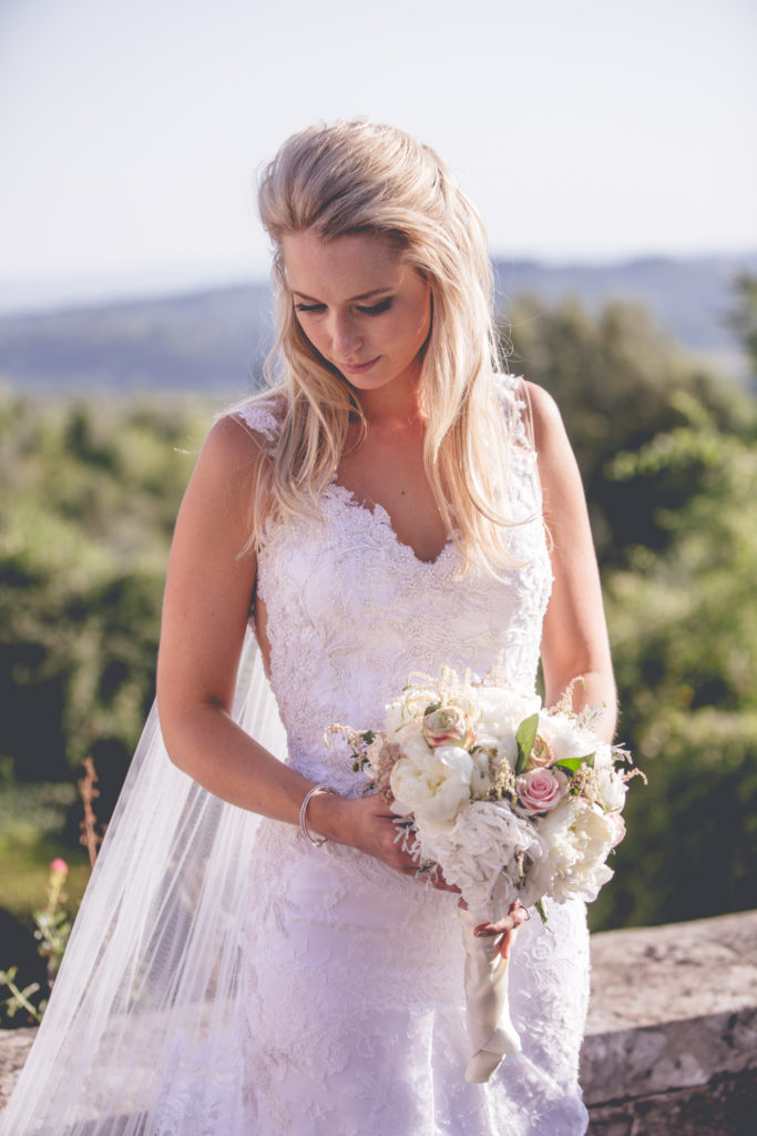 Susannah in her beautiful lace wedding dress designed by herself - Susannah Rachel Bridal Couture