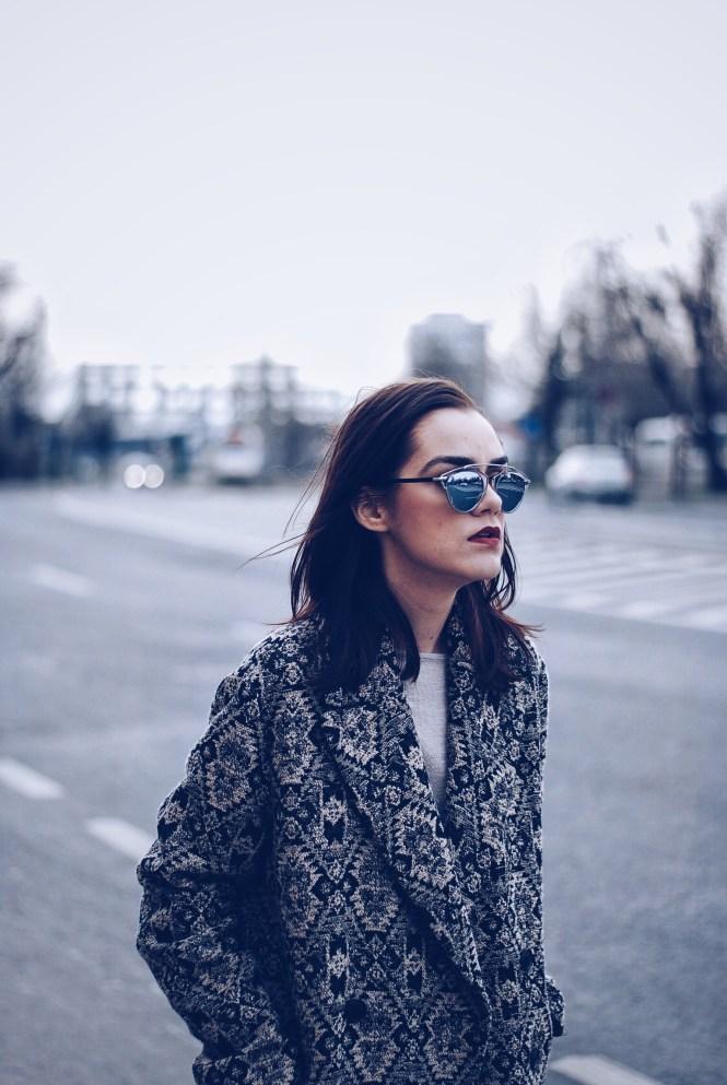 Camel outfit, Print coat, SoReal sunglasses by Andreea Birsan